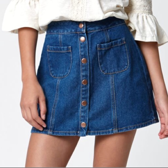 dae7a33d4a Brandy Melville Dresses & Skirts - Brandy Melville Button Up Denim Mini  Skirt